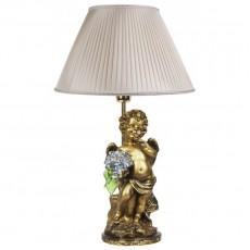 Светильник Ангел c голубыми цветами, абажур шёлк CDA 6003 LT BL SL