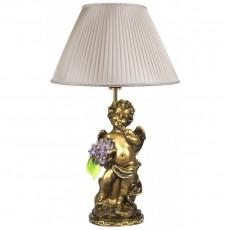 Светильник Ангел c сиреневыми цветами, абажур шёлк CDA 6003 VL SL