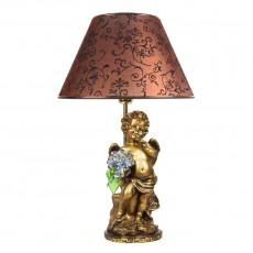 Светильник Ангел с голубыми цветами, абажур коричневый CDA 6003 LT BL BR