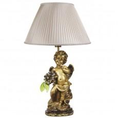 Светильник Ангел с янтарными цветами, абажур шёлк CDA 6003 GOLD SL