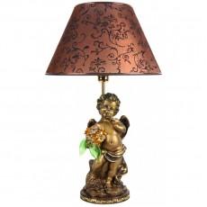Светильник Ангел с оранжевыми цветами, абажур коричневый CDA 6003 LT TOP BR