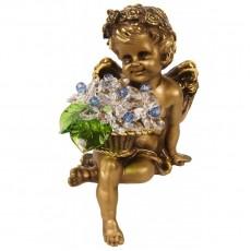 Ангел сидящий с хрустальными бело-голубыми цветами CDA 6009 CR LB
