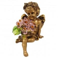 Ангел сидящий с хрустальными цветами CDA 6009 ROS