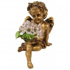 Ангел сидящий с хрустальными цветами CDA 6009 СR ROS